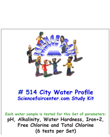 Download # 514 City Water Profile PDF with pH, Alkalinity, Water Hardness, Iron+2, Free Chlorine and Total Chlorine (6 tests per set).