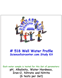 Download # 518 Well Water Profile PDF with pH, Alkalinity, Water Hardness, Iron+2, Nitrate and Nitrite (6 tests per set).