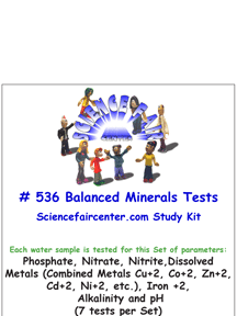 Download # 536 Balanced Minerals Concentration in Water PDF with Phosphate, Nitrate, Nitrite, Dissolved Metals (Combined Metals Cu+2, Co+2, Zn+2, Cd+2, Ni+2), Iron +2 +3, Alkalinity and pH (7 tests per set).