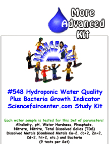 Download # 548 Hydroponics Water Quality plus Trace Metals and Bacteria PDF with  Alkalinity, pH, Water Hardness, Phosphate, Nitrate, Nitrite, Total Dissolved Solids (TDS) Dissolved Metals (Combined Metals Cu+2, Co+2, Zn+2, Cd+2, Ni+2, etc.) and Bacteria (9 tests per Set)