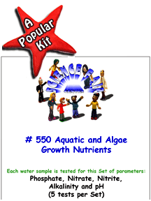 Download # 550 Aquatic and Algae Growth Nutrients in Water PDF with Phosphate, Nitrate, Nitrite, Alkalinity and pH (5 tests per set).
