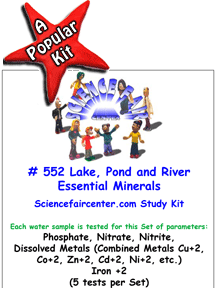 Download # 552 Lake, Pond and River Essential Minerals in Water PDF with Phosphate, Nitrate, Nitrite, Dissolved Metals (Combined Metals Cu+2, Co+2, Zn+2, Cd+2, Ni+2, etc.) and Iron +2 +3 (5 tests per set).