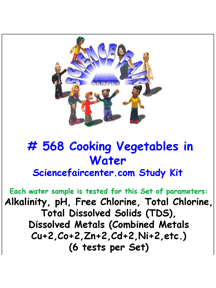 Download # 568 Cooking Vegitables in Water PDF with Alkalinity, pH, Free Chlorine and Total Chlorine, Total Dissolved Solids (TDS) and Dissolved Metals (Combined Metals Cu+2, Co+2, Zn+2, Cd+2, Ni+2, etc.) (6 tests per Set).