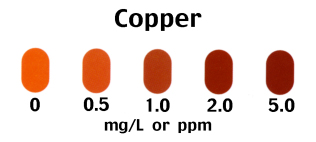 Copper +1 and +2 in Water test scale