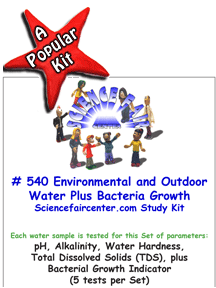 540 Environmental and Outdoor Water Source, plus Bacteria Growth - Outdoor water source such as lakes, creeks, ponds, rivers etc are tested for basic chemical parameters, plus Bacteria Growth Indicator.