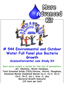 544 Environmental and Outdoor Water Full Panel and Bacteria Tests - Outdoor water panel with wide range of chemical parameter tests and bacteria testing for detailed comparison of outdoor sources and conditions.