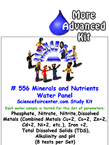 556 Minerals and Nutrients Water Panel - Natural mineral and nutrient panel for environmental water studies.